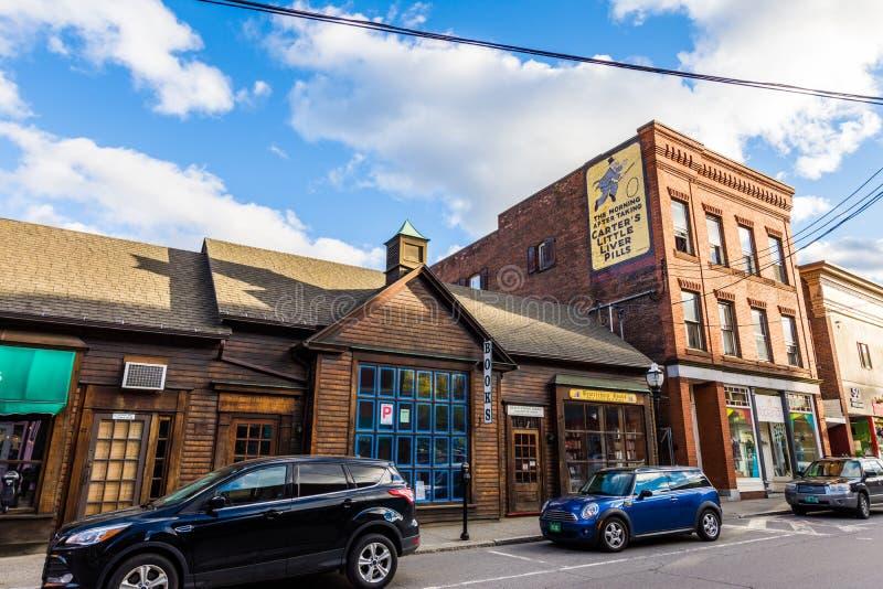 Brattleboro, Vermonts Small Cozy Downtown Area.  stock photos