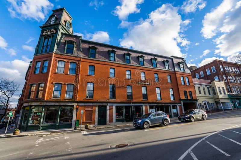Brattleboro, Vermonts Small Cozy Downtown Area.  stock photo