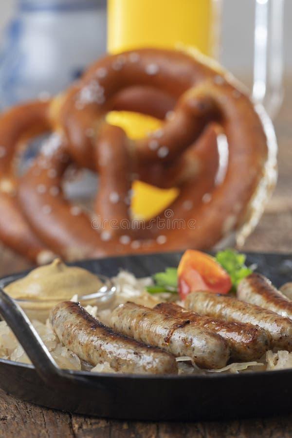 Bratwurst arrostito del nuremberger fotografie stock