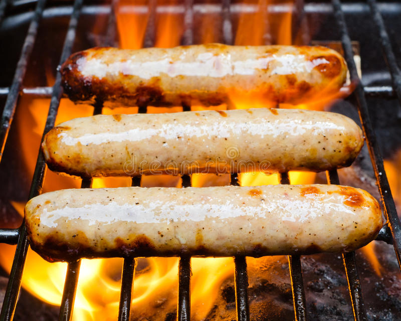 Bratwurst Cooking On Grill Stock Image