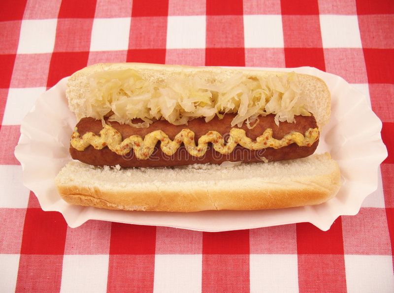Bratwurst with Sauerkraut royalty free stock images