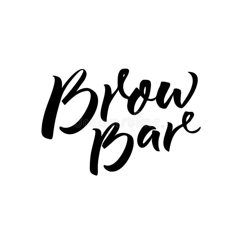 Brauenstangentext für Logo Kalligraphieaufschrift für Schönheitssalon Schwarze Bürstenbeschriftung lokalisiert auf weißem Hinterg lizenzfreie abbildung