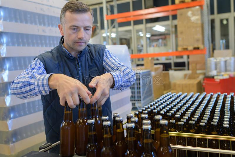 Brauer, der Bierflaschen in der Kiste an der Brauerei hält stockfotografie