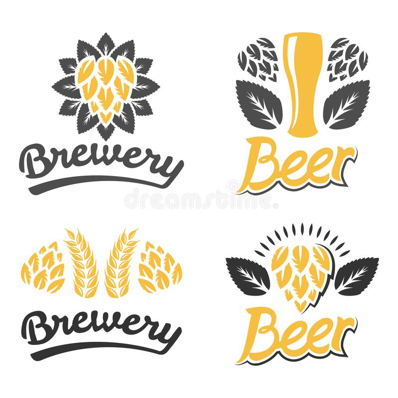 Brauerei, Bar, Bierlogo Weinlese-Brauereiaufkleberdesign getrennt auf Weiß Café, Restorant, Bier, Bar, hüpft Ikone Handwerksbiera lizenzfreies stockfoto