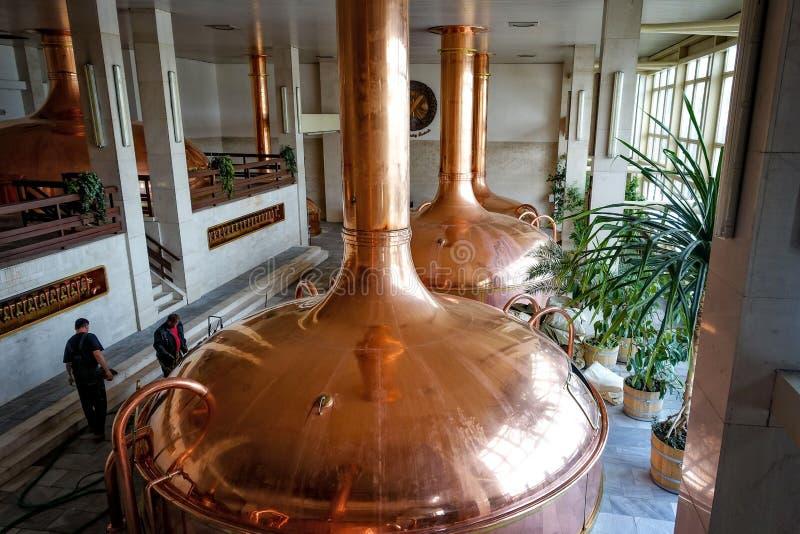 Brauerei Budvar Budweiser Malz, das Werkstatt kocht stockfoto