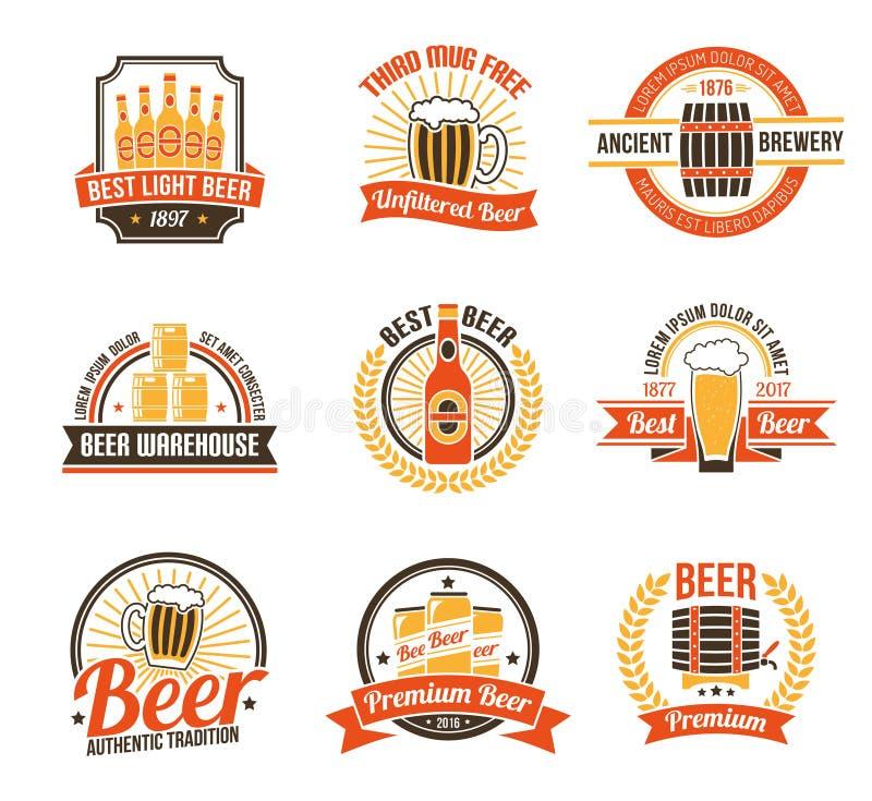 Brauerei Logo Set vektor abbildung