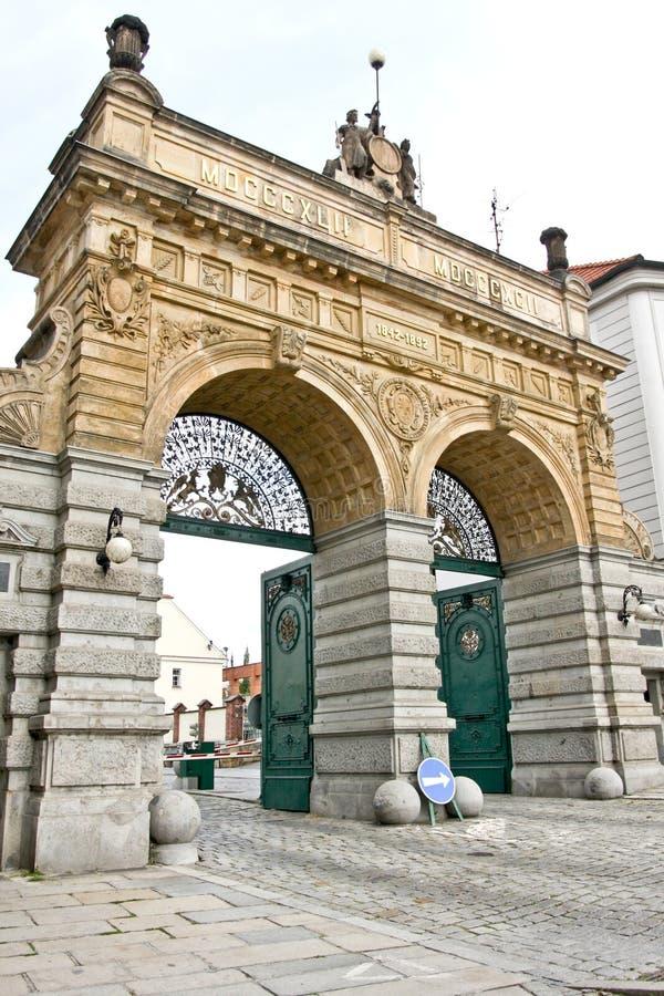 Brauerei-Tor, Plzen, Tschechische Republik lizenzfreie stockfotografie