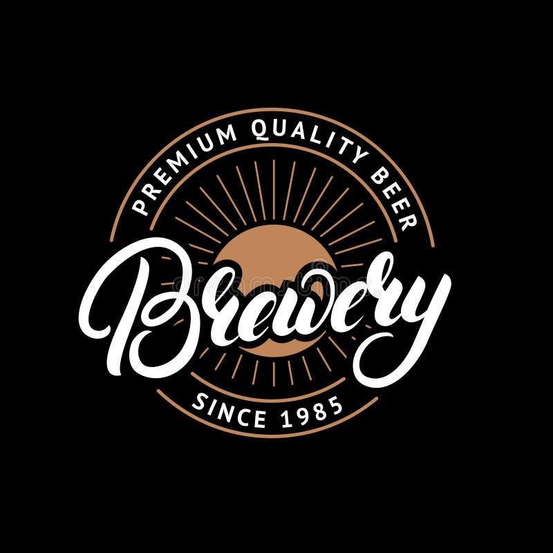 Brauereihand gezeichnet, Logo, Aufkleber, Ausweis, Emblem beschriftend lizenzfreie abbildung