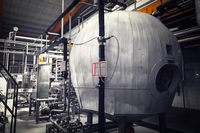 Brauereiinnenraum, Ausrüstung stockbilder