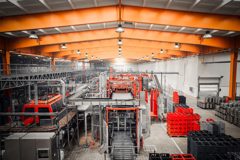 Brauereiinnenraum, Ausrüstung stockfotografie