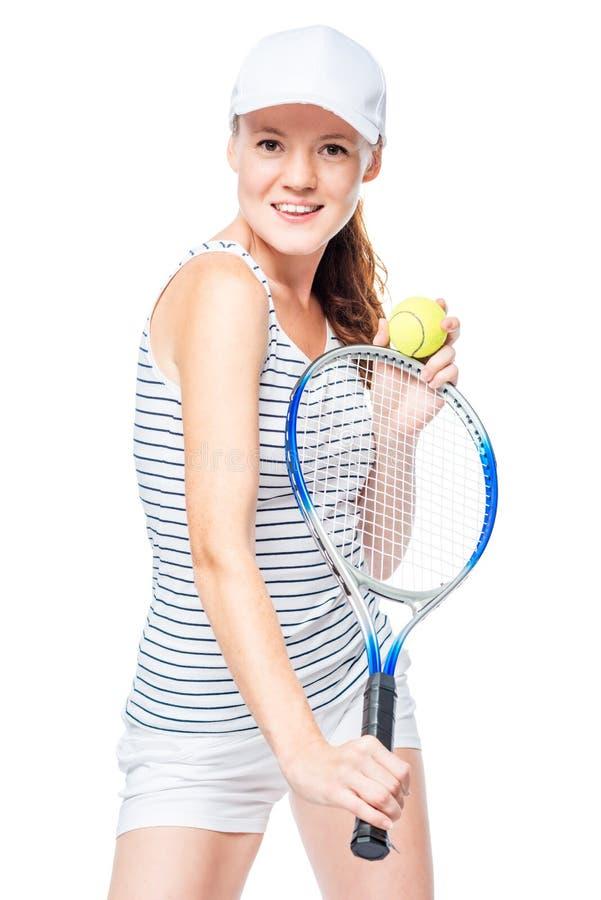 Braunäugige Tennisspieleraufstellung lizenzfreie stockfotos