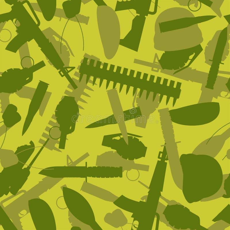 (braun, schwarz, Sumpf, grüne Farben) Schattenbilder von Armen und von Ausrüstung für Krieg lizenzfreie abbildung