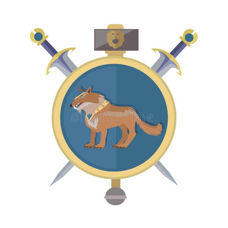 Braun-Wolf im Kragen Ikone in der Ebene lizenzfreie abbildung