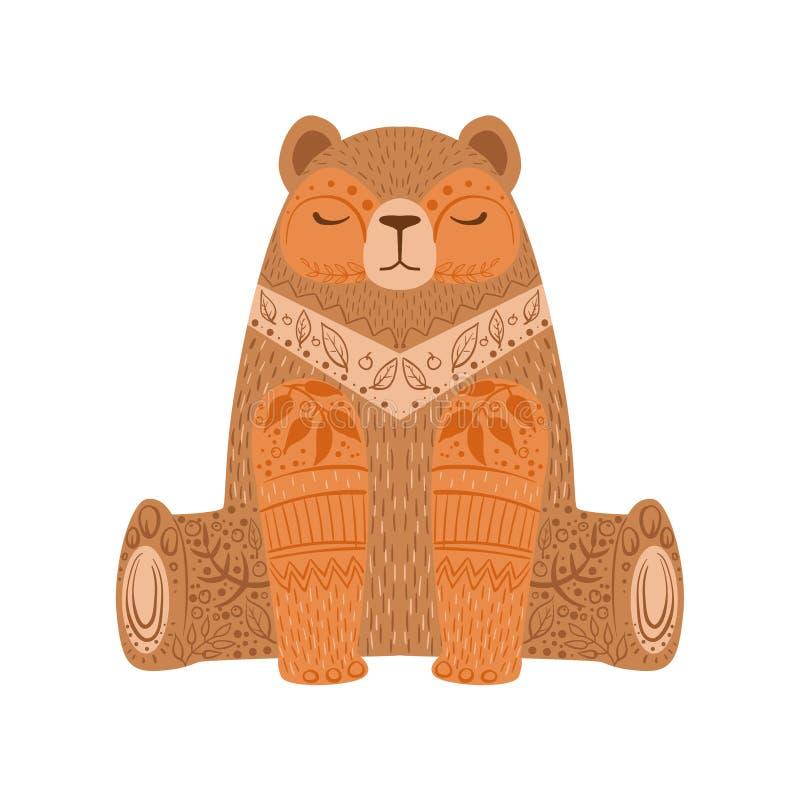 Braunbär entspanntes Karikatur-wildes Tier mit den geschlossenen Augen verziert mit Boho-Hippie-Art-Blumenmotiven und Mustern lizenzfreie abbildung