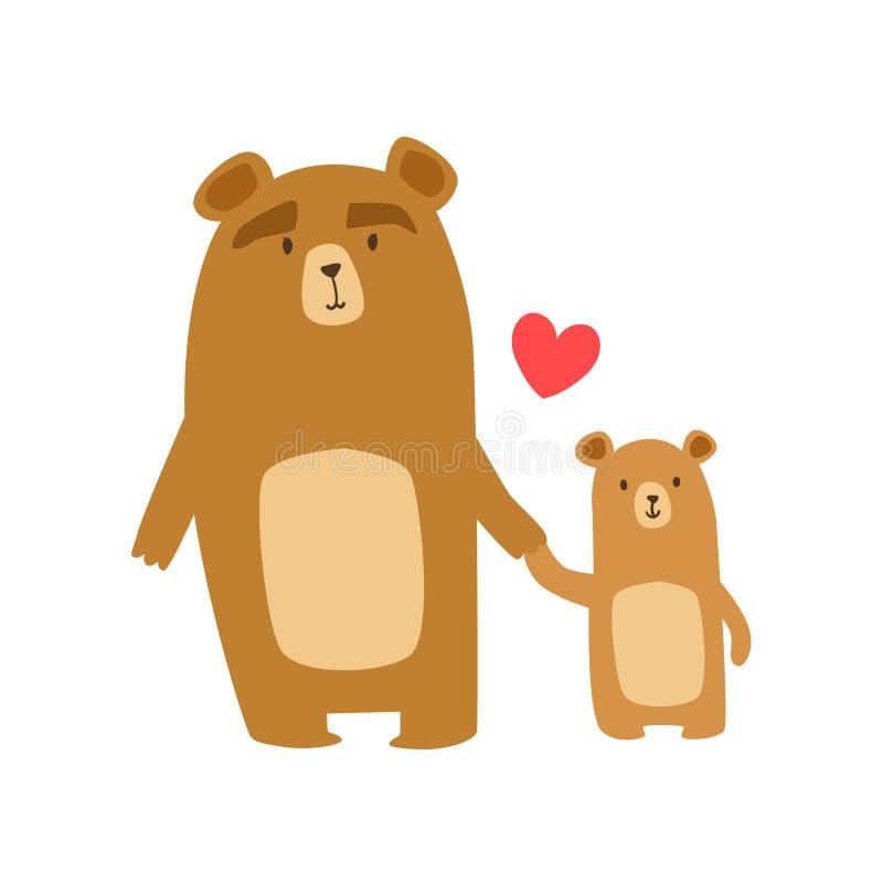 Braunbär-Vati-Tierelternteil und seine Elternschafts-themenorientierte bunte Illustration des kleinen Kalbs mit Karikatur-Fauna-C lizenzfreie abbildung