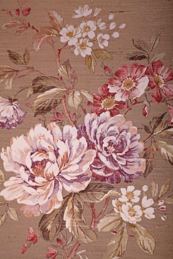 Braune Tapete der Weinlese mit Blumenvictorianmuster stockfotos