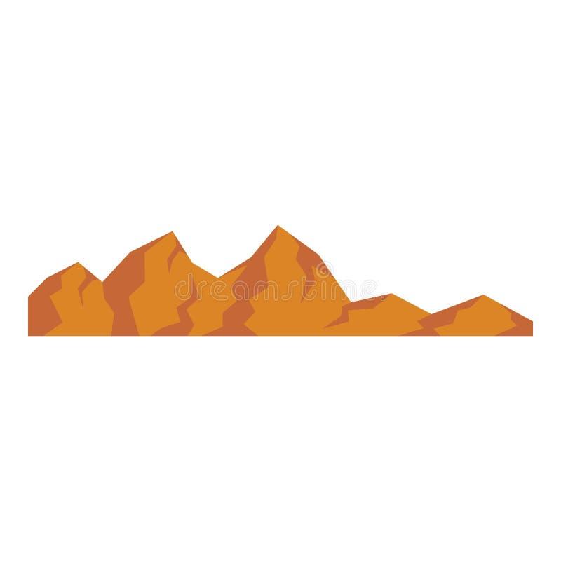 Brauner Berg - Ikone, flach stock abbildung