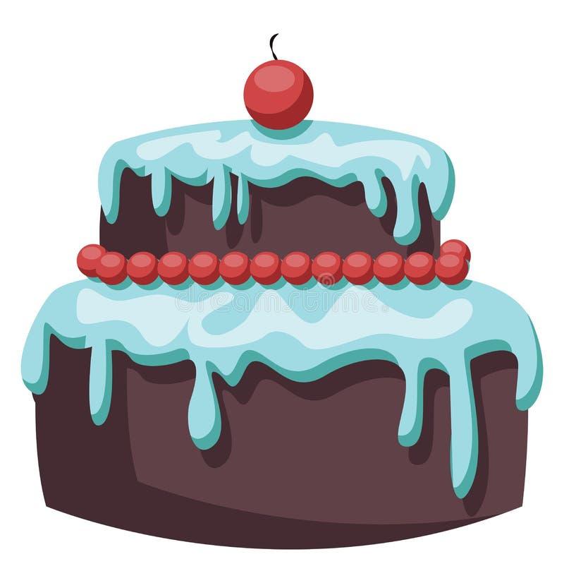 Brauner Kuchen mit hellblauem Eis und Rotkirschvektor-Abbildung vektor abbildung