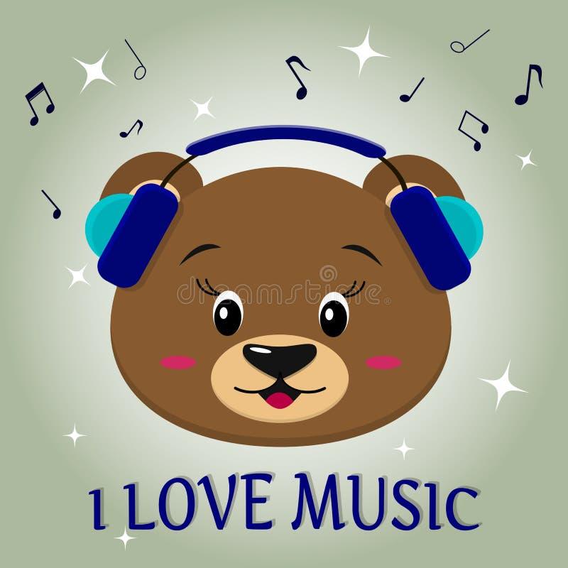 Brauner Musiker des Bären, hörend Musik Kopf in den blauen Kopfhörern im Stil der Karikaturen stock abbildung