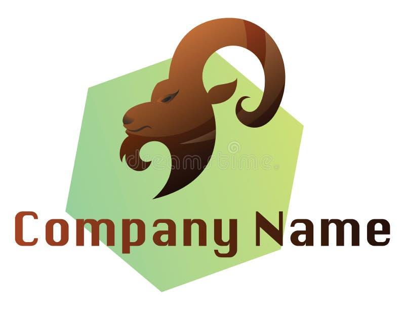 Brauner Rammkopf auf einer grünen Hexagon-Vektor-Logo-Abbildung auf einer stock abbildung