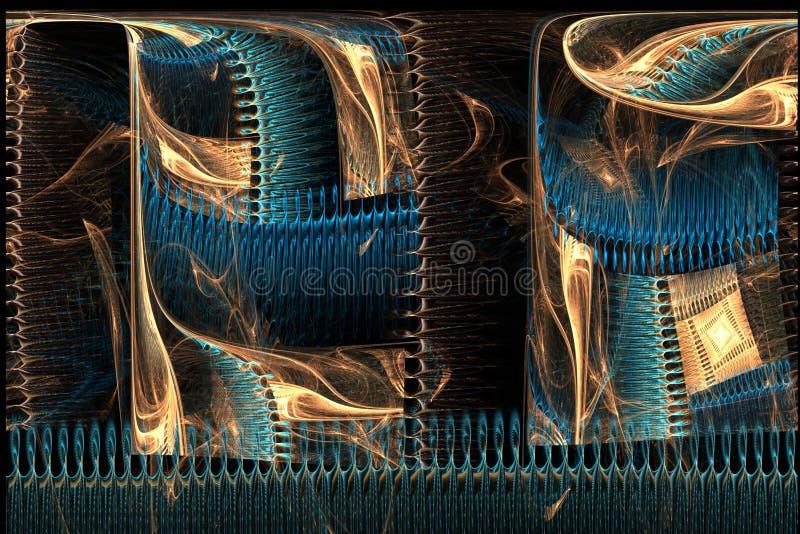 Braunes des abstrakten Fractal magisches und blaues unsymmetrisches Bild stockbild