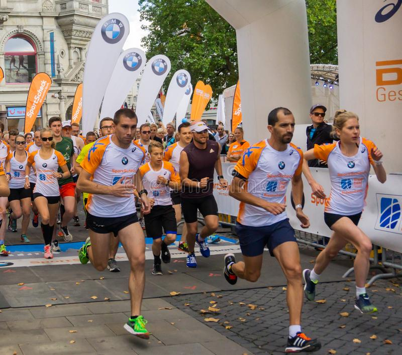 Starting grid for the city run of Braunschweig 2016, directly after the start of the competition stock image