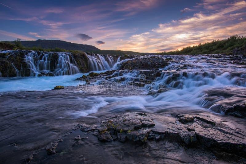 Braurfossar是惊人的瀑布 图库摄影