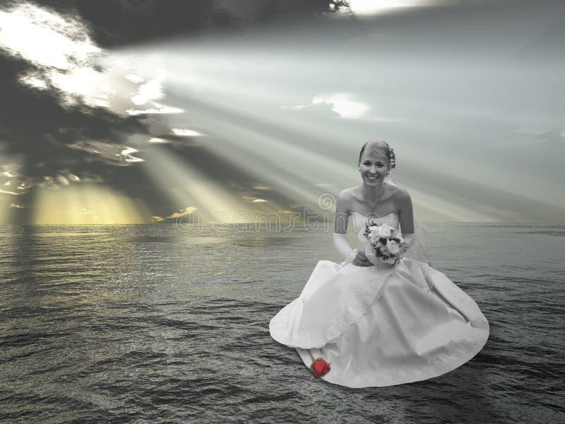 Braut auf Wassercollage stockfotos
