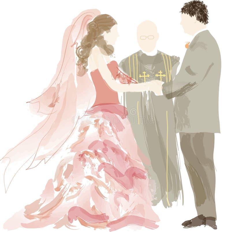 Braut, Bräutigam und officant   stock abbildung