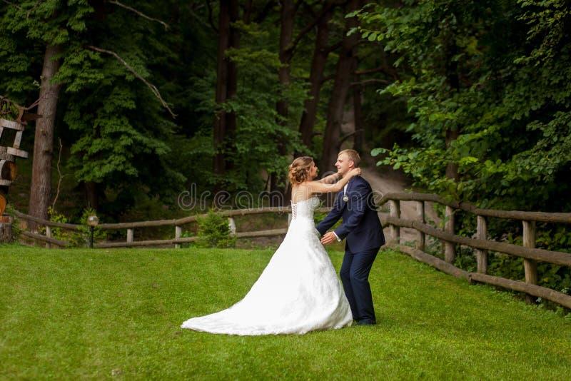 Braut, die Bräutigam nahe Zaun im Wald umarmt stockbild