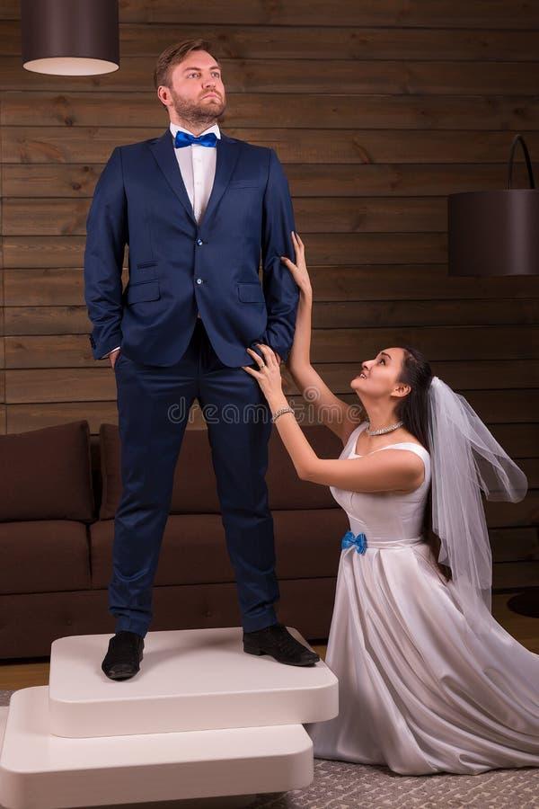 Braut, die dem Bräutigam Heiratangebot unterbreitet lizenzfreies stockfoto