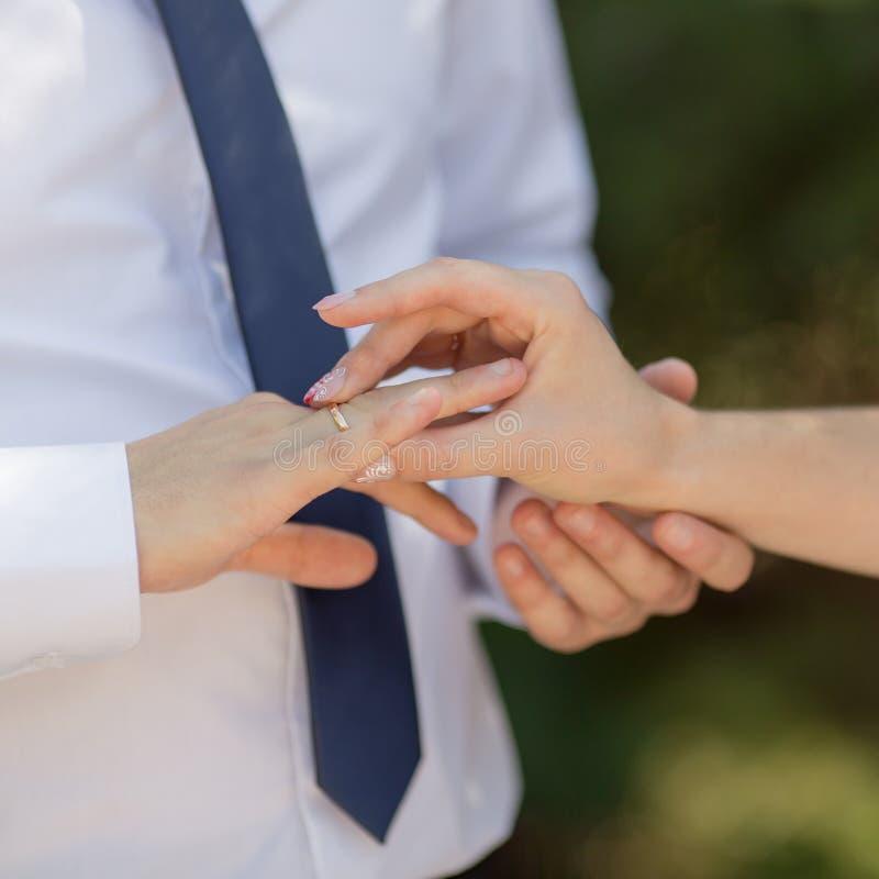 Braut, die Ehering auf Finger ihres Bräutigams setzt lizenzfreie stockfotos