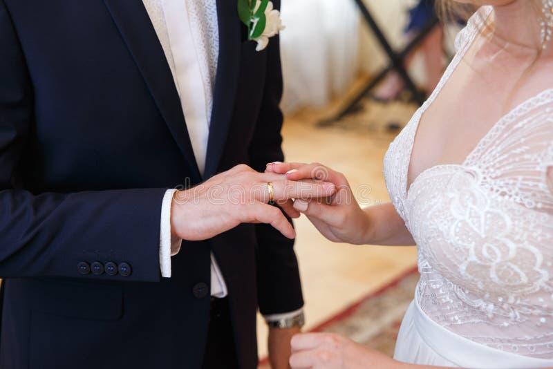Braut, die einen Ring auf den Finger des Br?utigams setzt stockfoto