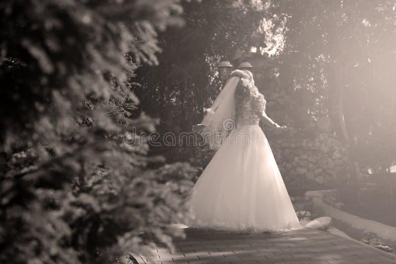 Braut, die Pirouette im Park tut lizenzfreie stockfotografie