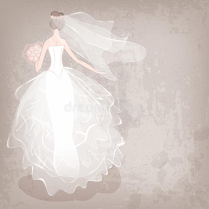 Braut im Hochzeitskleid auf grungy Hintergrund lizenzfreie abbildung