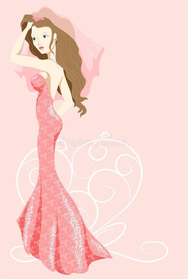 Braut im rosafarbenen Kleid stockfotografie