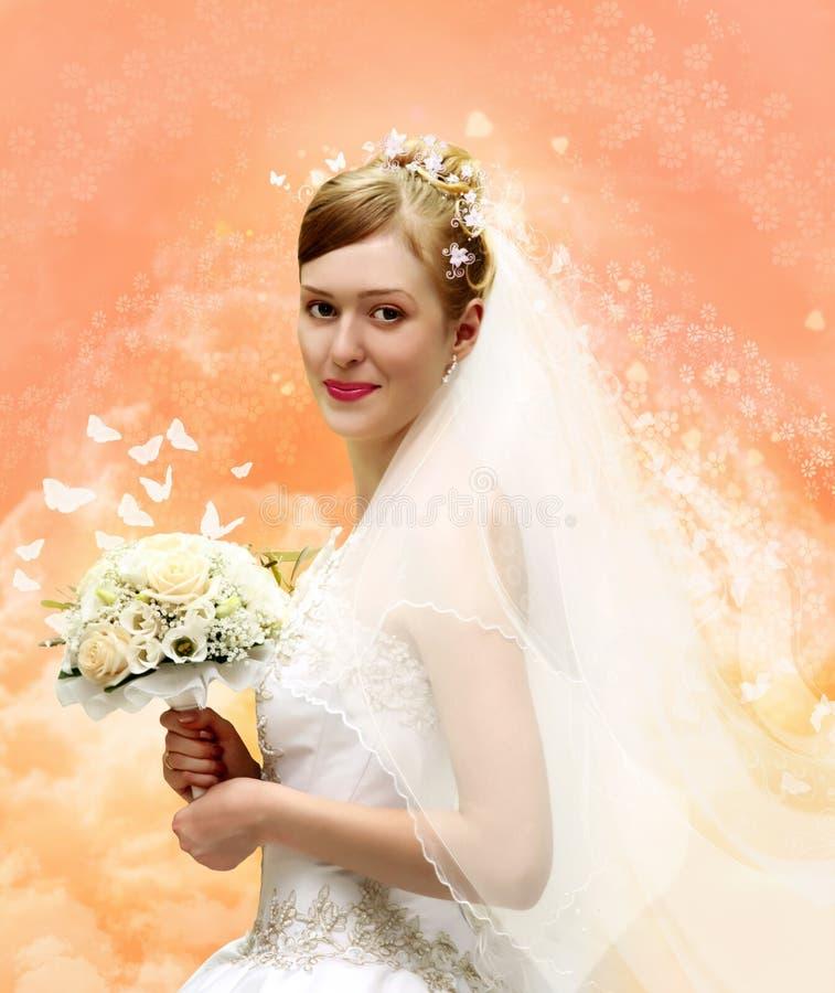 Braut mit Blumenstraußcollage stockfotos