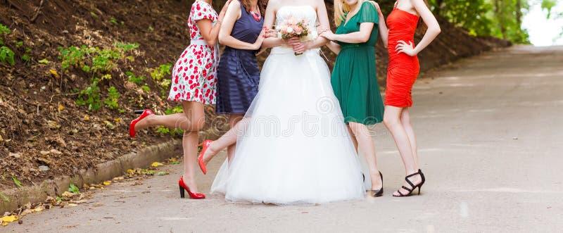 Braut mit Brautjungfern stockfotografie
