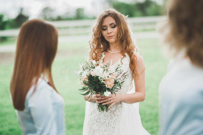 Braut mit Brautjungfern im Park am Hochzeitstag lizenzfreies stockfoto