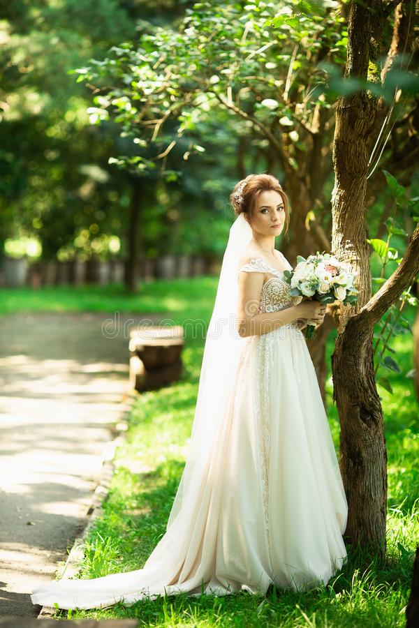 Braut in Mode, die Kleid auf nat?rlichem Hintergrund heiratet Ein Sch?nheitsportr?t im Park stockfotos