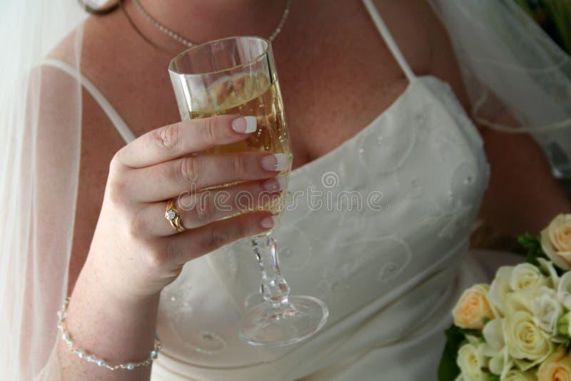 Braut-u. Wein-Glas stockfotografie