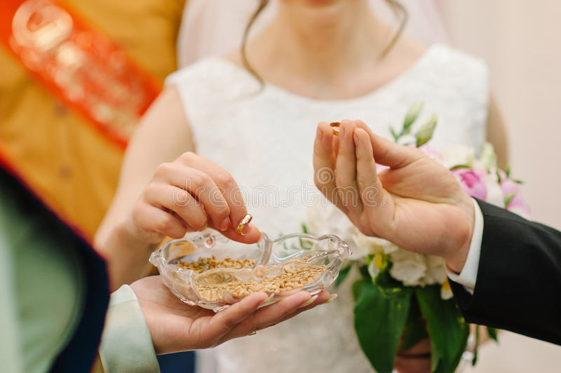 Braut und Bräutigam ändern Ringe lizenzfreie stockfotografie