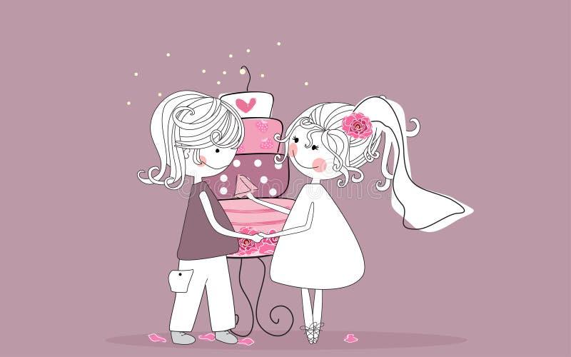 Braut und Bräutigam lizenzfreie abbildung