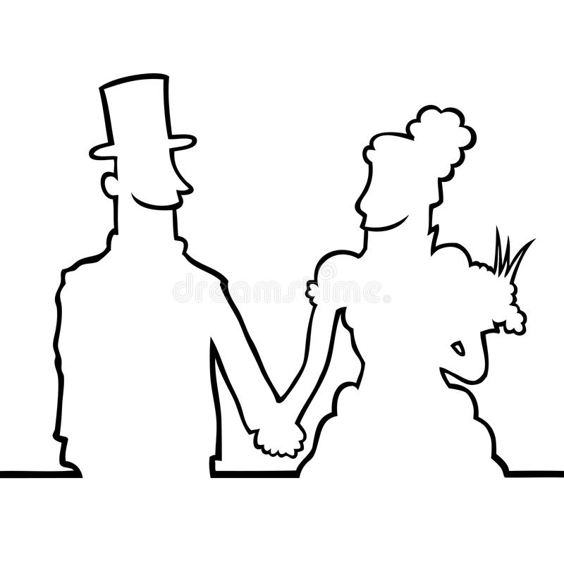 Braut und Bräutigam, die eachother betrachten stock abbildung