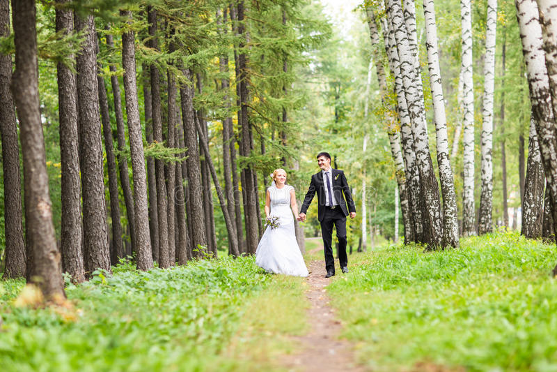 Braut und Bräutigam, die einen romantischen Moment an ihrem Hochzeitstag haben lizenzfreie stockbilder