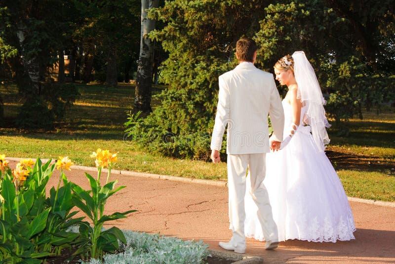 Braut und Bräutigam, die in Park gehen lizenzfreies stockfoto