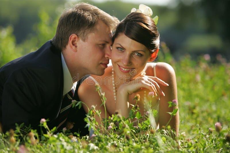 Braut und Bräutigam, die romantisch ist lizenzfreies stockbild