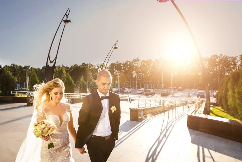 Braut und Bräutigam, die zusammen Hand in Hand gehen lizenzfreies stockfoto