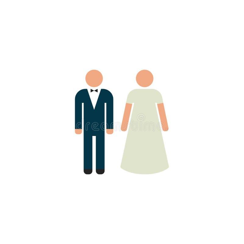 Braut und Bräutigam Flat Icon Vector, Symbol oder Logo vektor abbildung