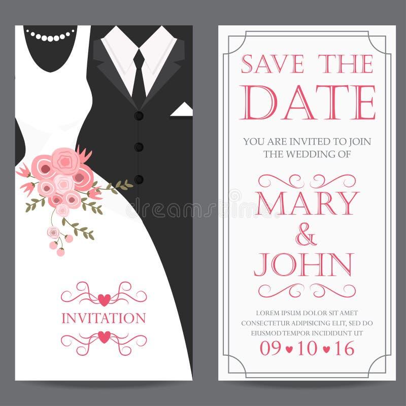 Braut und Bräutigam, Heiratseinladungskarte stock abbildung